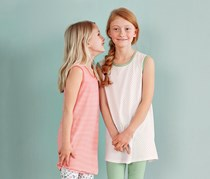 Girls Kids, Longshirt, Set of 2, White/Coral Print
