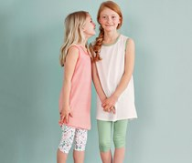 Girls Kids Tights 3/4 Set of 2, Mint/White
