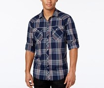 INC Mens Dual-Pocket Plaid Shirt, Basic Navy