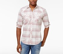 INC Mens Dual-Pocket Plaid Shirt, Grecian Throne