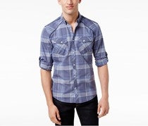 Mens Dual-Pocket Plaid Shirt, Inkberry