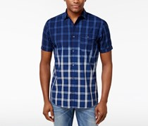 INC International Concepts Mens Ombre Plaid Shirt, Navy