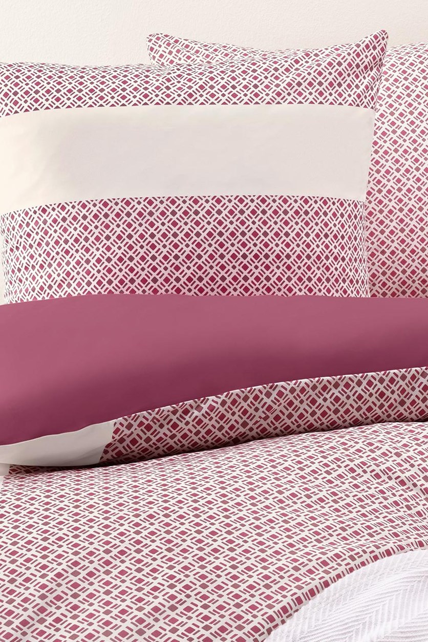 Reversible Percale Duvet Set, White/Raspberry