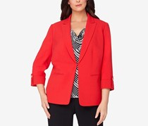 Tahari ASL Peak-Collar Cuffed Blazer, Cherry Red