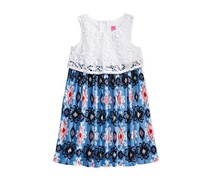 Good Lad Little Girls Crochet Popover Dress, Navy/White/Red
