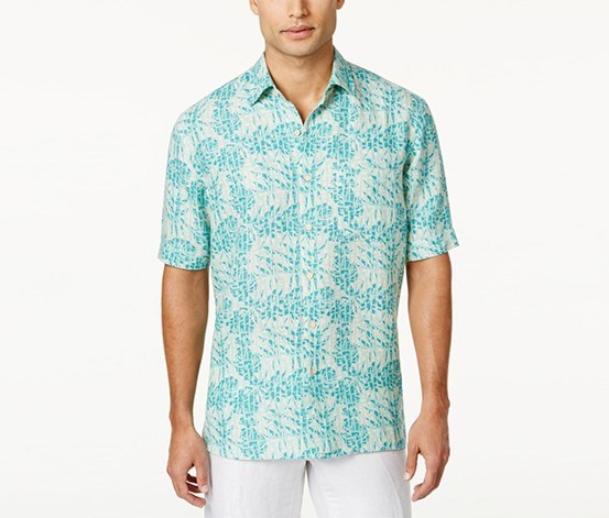 Men's Silk Linen Pattern Shirt, Aqua Combo