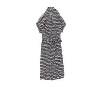 Women Bacongo Daisy Tie Waste Dress, Black/White