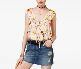 Juniors Printed Ruffle Crop Top, Tropical Peach