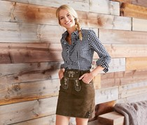 Women's Leather Skirt, Brown