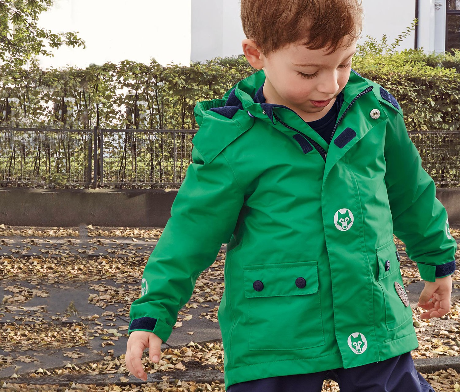 Boys Kids Thermal Rain Jacket, Green