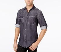 Mens Button Down Printed Chambray Shirt, Basic Navy