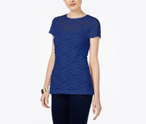 Inc International Concepts Lace Illusion Top, Goddess Blue