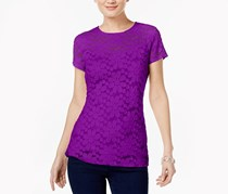 Inc International Concepts Lace Illusion Top, Vivid Purple