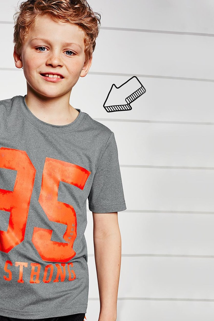 Kids Boys T Shirt, Gray Printed