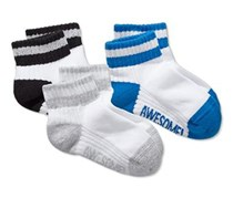 Boys Kids, 3 pair of socks, Blue/Gray/White