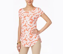 Alfani Printed Short-Sleeve Top, Abstract Silhoutte Coral