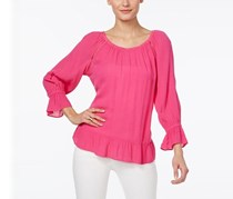 INC Raglan-Sleeve Crepe Peasant Top, Magenta Flame