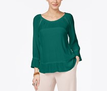 Women's Crepe Peasant Top, Indian Teal