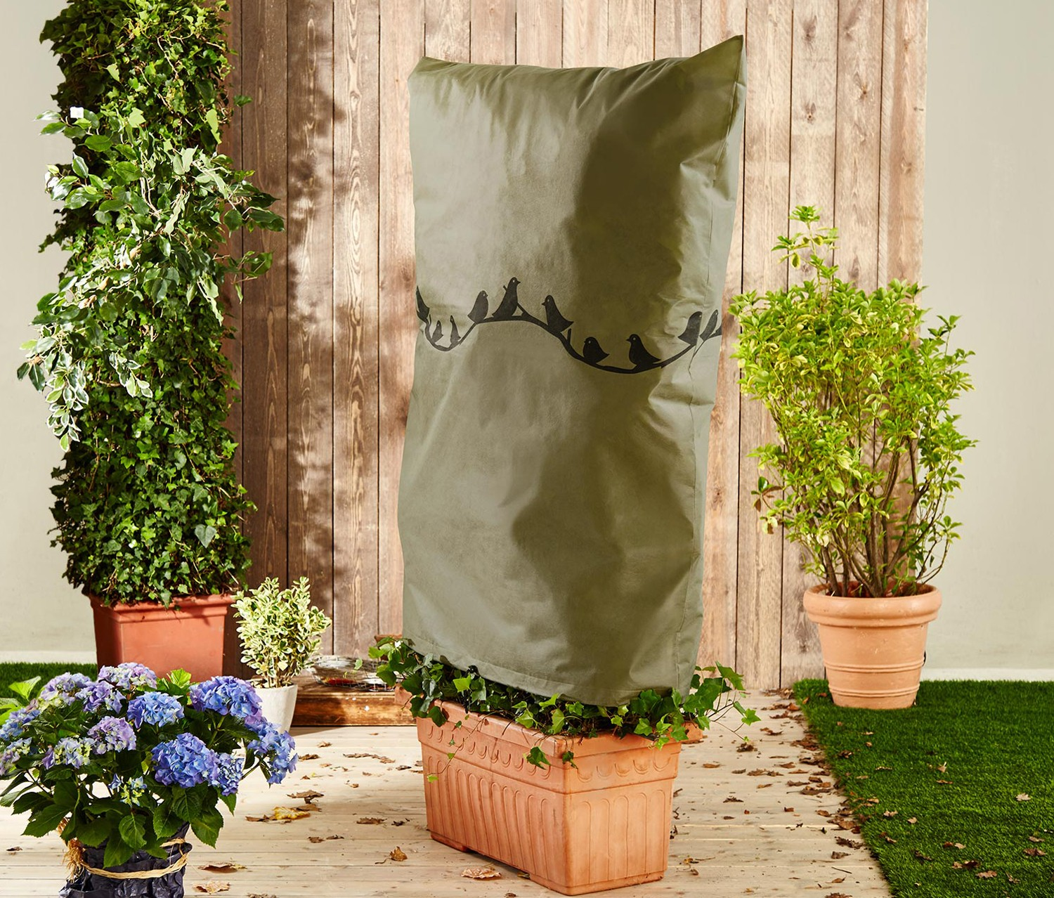 Plant Protection Fleece, 110 x 90 cm, Olive green