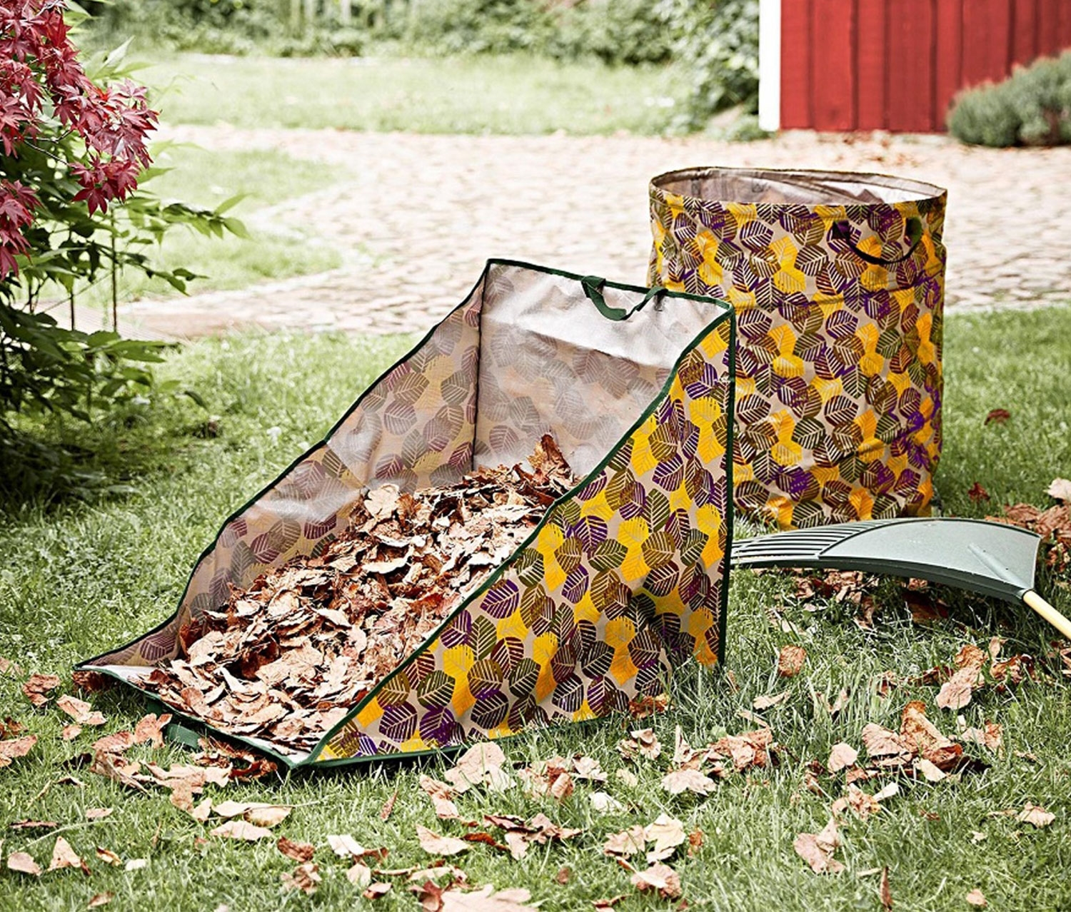 Leaf collecting bag, Gray with colorful leafs