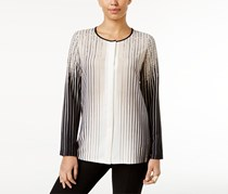 Alfani Ombre-Stripe Blouse, Cream/Black