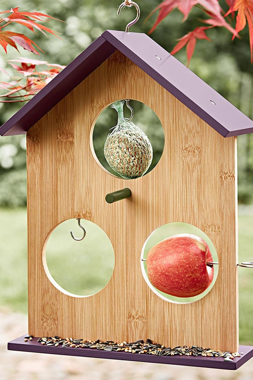Bird feeding station, 36 x 27 cm, Natural/Purple