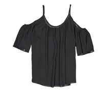Women Polly Plains Cut Out Shoulder Top, Black