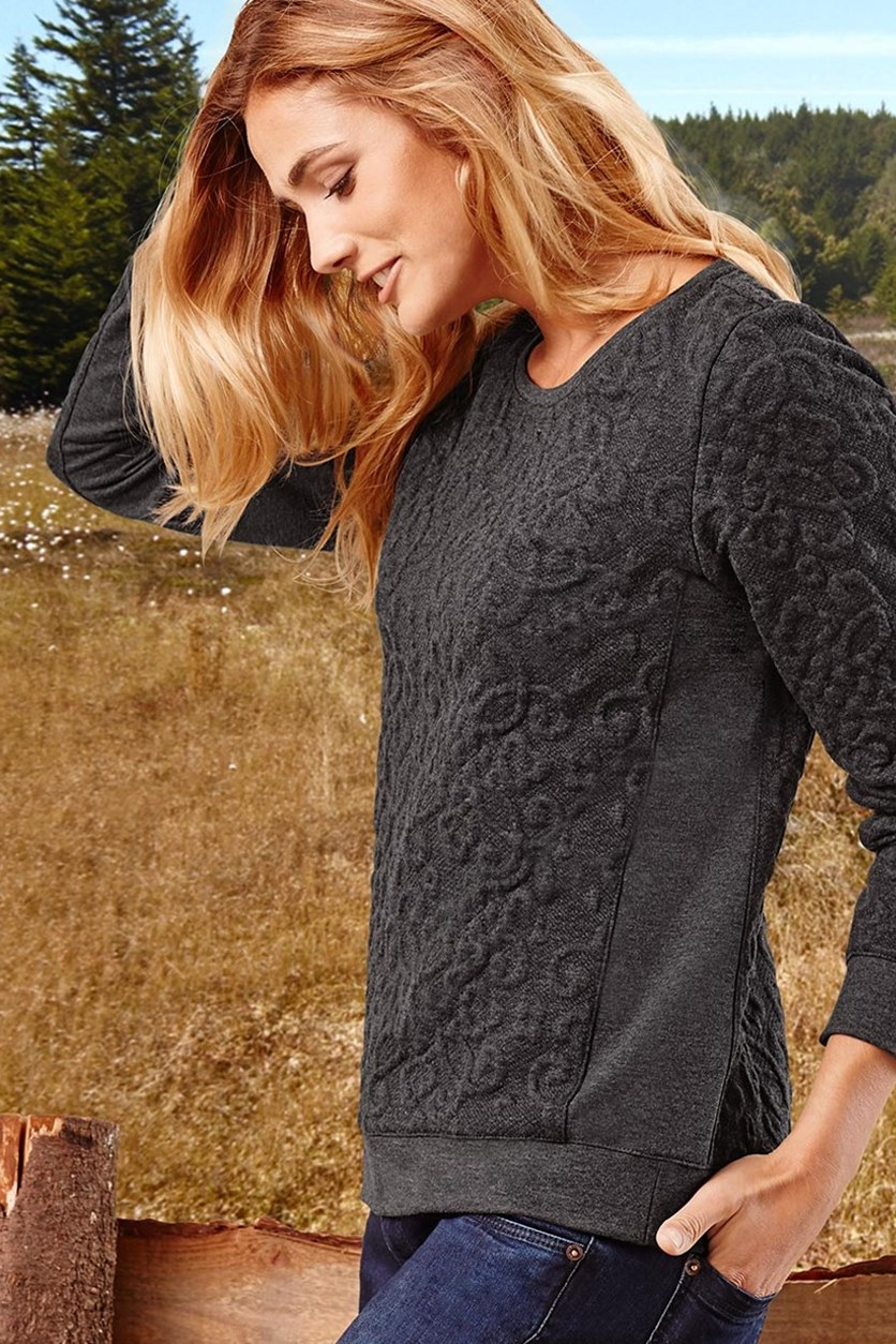 Women's Sweater, Structured, Anthracite mottled
