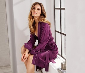 Women's Dressing Gown, Printed Purple