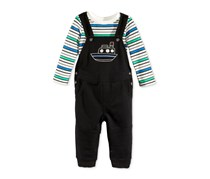 First Impressions 2-Pieces Striped T-Shirt & Boat Overall Set, Deep Black