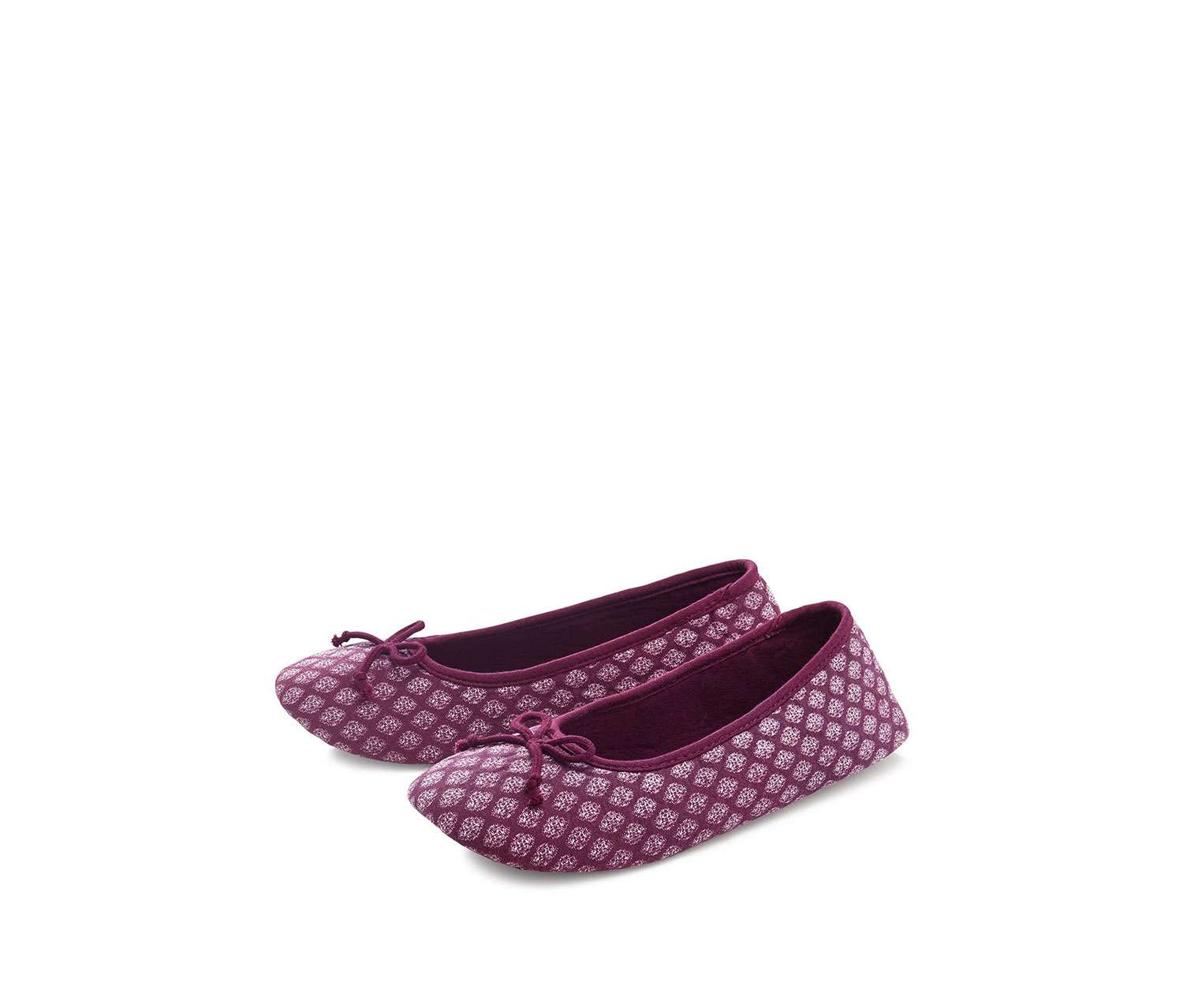 Women's Balerina Shoes, Purple with white print