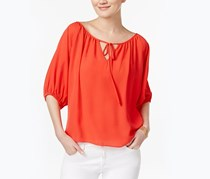 Inc International Concepts Tie-Front Peasant Top, Orange