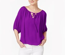 Inc International Concepts Tie-Front Peasant Top, Purple