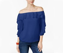 Inc International Concepts Ruffled Off-The-Shoulder Top, Goddess Blue