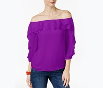 Inc International Concepts Ruffled Off The Shoulder Top, Vivid Purple