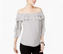 Inc Ruffled Off-The-Shoulder Top, Petite Dot