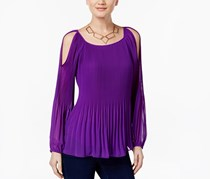 Inc International Concepts Pleated Cold-Shoulder Top, Vivid Purple