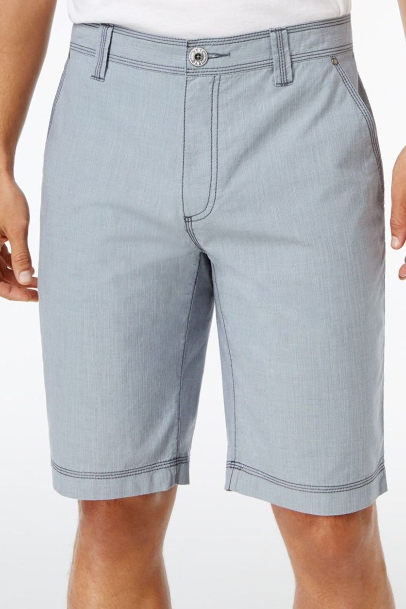 Mens Chambray Cotton Shorts, Light Blue