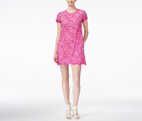 CeCe Kate Short-Sleeve Lace Sheath,Fuschia