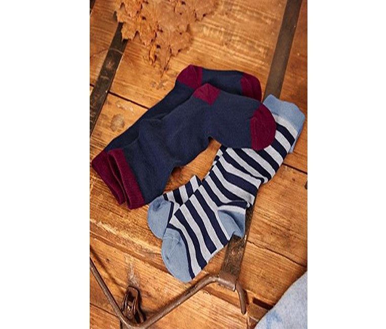 Boys Kids, Knee-Highs Socks, Blue/Navy/Gray stripes