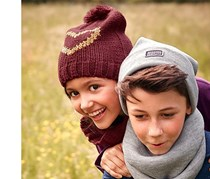 Girls Kids, Knitted Hat and Tube Scarf, Maroon