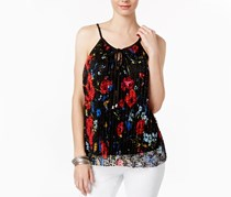 Inc International Concepts Lace Keyhole Top, Electric Floral