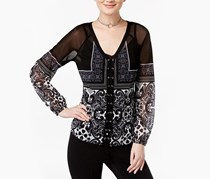 Women's Lace-Up Printed Mesh Top, Black