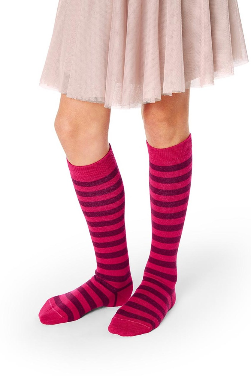 Girls Kids, Knee high Socks, Set of 2, Red Burgundy/Gray