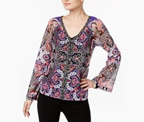 Inc Lace-Up Mesh Peasant Top, Grand Ballroom Paisley