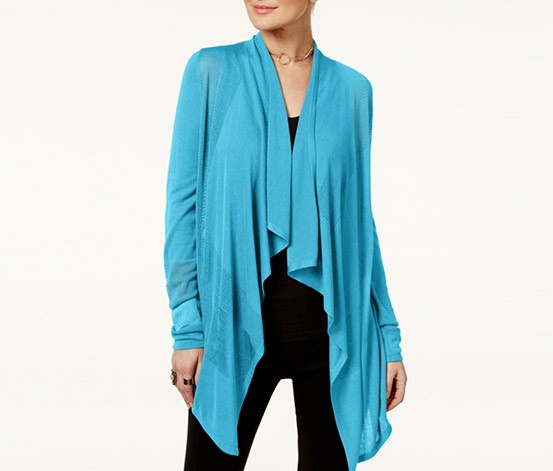 Petite Open-Front Draped Illusion Cardigan, Bachelor Button