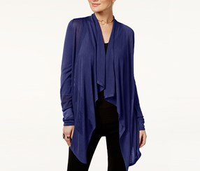 INC Petite Open-Front Draped Illusion Cardigan, Deep Twilight