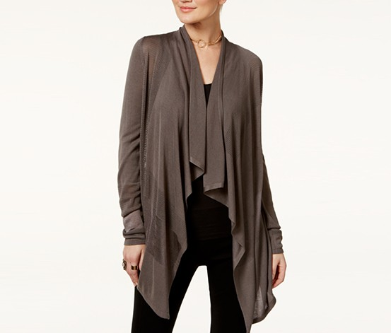 INC Petite Open-Front Draped Illusion Cardigan, Grey Knight