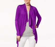 INC Petite Open-Front Draped Illusion Cardigan, Vivid Purple