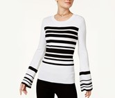 Inc International Concepts Striped Bell-Sleeve Sweater, Bright White